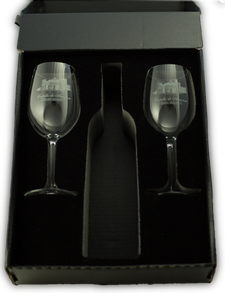 One Bottle Gift Box with Two Logo Glasses